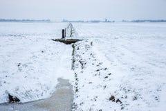 Historische Windmühlen in einem kalten und schneebedeckten niederländischen Ackerland Stockfoto