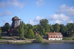Historische Windmühle, Djurgarden, Stockholm Lizenzfreies Stockfoto