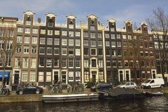 Historische woningbouw langs Prinsengracht-kanaal in Amsterdam Royalty-vrije Stock Afbeeldingen