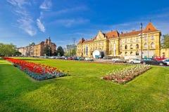 Historische Zagreb-Architektur und Naturansicht Stockfoto