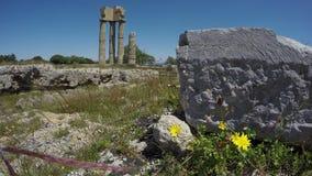 Historischer Apollo Tempel Rhodos ruiniert Spalten in der Akropolise 4K stock video footage