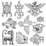 Historischer Azteke, Inkavektorsymbole, Mayatempelmuster, Kultur des amerikanischen Ureinwohners unterzeichnet lizenzfreie abbildung