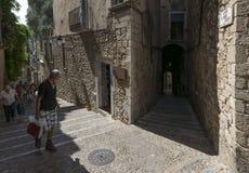 Historischer Barri Vell-Bezirk in Girona Stockbild