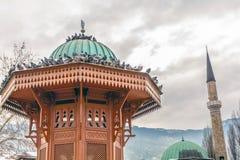 Historischer Brunnen in Bascarsija, Sarajevo, Bosnien Stockbild