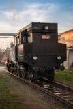 Historischer Dampfzug, der an der Station wartet Stockfotos