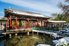 Historischer Garten von Peking, China im Winter Stockfoto