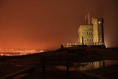Historischer Gipfelkontrollturm nachts Stockfoto