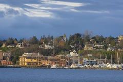 Historischer Hafen Townsend, Washington Waterfront bei Sonnenaufgang lizenzfreie stockbilder