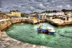 Historischer kornischer Hafen Charlestown nahe St Austell Cornwall England Großbritannien mit klarem blauem Meer in HDR Lizenzfreie Stockfotografie