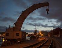 Historischer Kran bei Bristol Dockyard, England Stockbilder