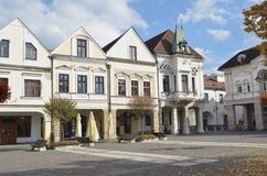 Historischer Marktplatz im Herbst Stockfotografie