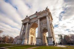 Historischer Marmorbogen ACRO-della Schritt, Sempione-Quadrat, Mailand, Lizenzfreie Stockbilder