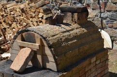 Historischer Ofen des Ziegelsteines Stockbild