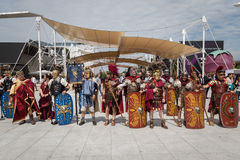 Historischer Roman Group an Ausstellung 2015 in Mailand, Italien Stockbild