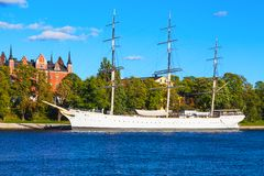 Historischer Schiff AF-ambulanter Händler in Stockholm, Schweden Stockfotografie