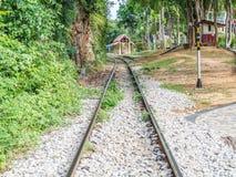 Historisches Bahnbahngleis im Wald Stockfoto