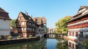 Historisches Bezirk ` Petite France -` und -kanal in Straßburg, Elsass Provinz von Frankreich stockfoto