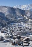 Historisches Dorf von Shirakawago im Winter, Japan Stockfotos