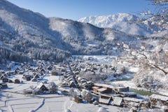 Historisches Dorf von Shirakawago im Winter, Japan Stockfotografie