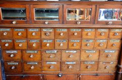 Historisches Drugstore Fort Edmonton, West-Kanada Lizenzfreie Stockfotografie