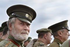 Historisches Festival des ersten Weltkriegs in Moskau, am 2. Oktober 2016 Soldaten der russischen Armee Stockbild