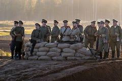 Historisches Festival des ersten Weltkriegs in Moskau, Wiederholung, am 1. Oktober 2016 Soldaten der russischen Armee lizenzfreies stockbild