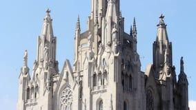 Historisches Gebäude Kathedralen-heiliges Herz in Barcelona-Stadt in Spanien stock footage