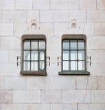Historisches grünes Fenster zwei auf der gelben Wand Stockbild