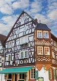 Historisches Haus mit Holzrahmenbauweise Stockfotografie