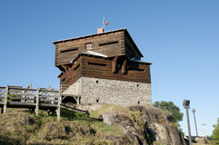 Historisches kleines Sault Blockhouse - Edmundston - New-Brunswick Stockbild