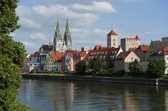 Historisches Regensburg im Bayern Lizenzfreie Stockfotos
