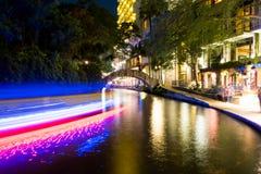 Historisches San Antonio River Walk nachts Lizenzfreies Stockbild