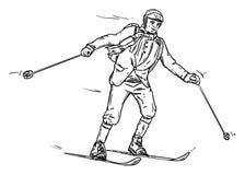 Historisches Skifahren Stockfoto