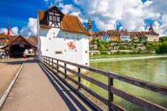 Historisches Stadtzentrum von Bremgarten, Aargau, die Schweiz stockfotografie