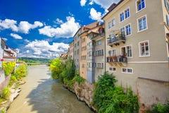 Historisches Stadtzentrum von Brugg, Aargau, die Schweiz lizenzfreie stockfotos
