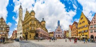 Historisches townsquare von Rothenburg-ob der Tauber, Franconia, Bayern, Deutschland Stockfotos