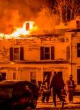 Historisches Vermont-Bauernhof-Feuer Stockfotografie