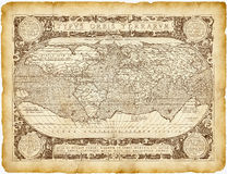 Historisches Weltkarte-Pergament stockfotografie