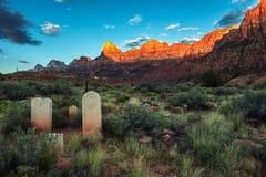 Historisk banbrytande kyrkogård i Springdale, Utah arkivbilder