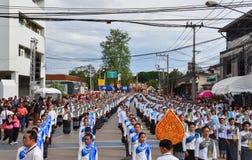 Historisk bild ceremonin av staden av Loei Dansa gudinnan Arkivbilder