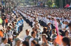 Historisk bild ceremonin av staden av Loei Dansa gudinnan Arkivfoto