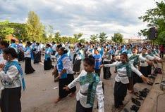 Historisk bild ceremonin av staden av Loei Dansa gudinnan Royaltyfria Bilder