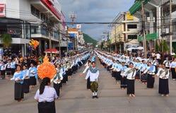 Historisk bild ceremonin av staden av Loei Dansa gudinnan, tillbe gudinnan Kud Pong och tillbe Arkivfoto
