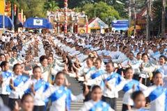 Historisk bild ceremonin av staden av Loei Dansa gudinnan, tillbe gudinnan Kud Pong och tillbe Royaltyfri Foto