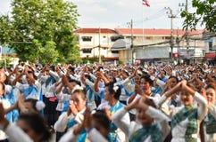 Historisk bild ceremonin av staden av Loei Dansa gudinnan, tillbe gudinnan Kud Pong och tillbe Arkivbild