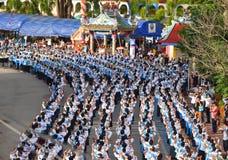 Historisk bild ceremonin av staden av Loei Dansa gudinnan, tillbe gudinnan Kud Pong och tillbe Arkivfoton