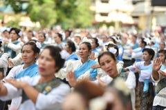 Historisk bild ceremonin av staden av Loei Dansa gudinnan, tillbe gudinnan Kud Pong och tillbe Arkivbilder