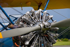 historisk biplanemotor Royaltyfri Foto