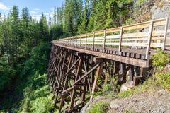 Historisk bock på Myra Canyon Provincial Park, Kanada Arkivfoton
