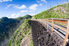 Historisk bock på Myra Canyon Provincial Park, Kanada Royaltyfri Bild